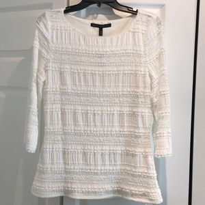 Beautiful white lace 3/4 sleeve WHBM top.